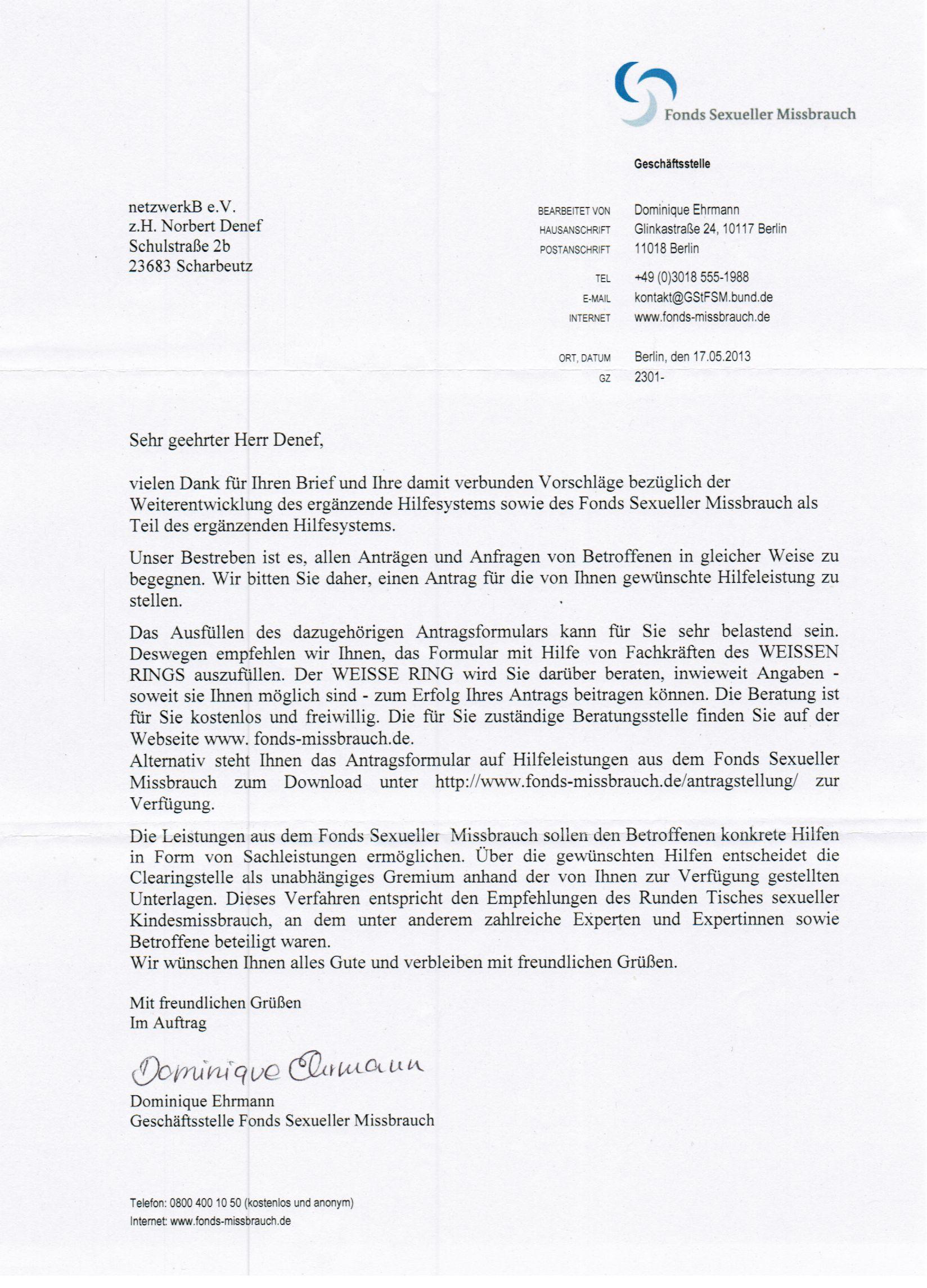 Fonds Sexueller Missbrauch – Antwortschreiben 17.05.2013 | netzwerkB